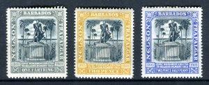 Barbados 1907. Nelson Centenary set of 3. Mint Hinged. MC CA. SG158, SG161/162..