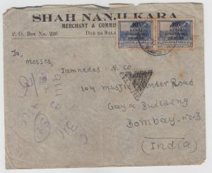 K.U.T.  1941  Daressalam  Cover To India Censored  2 Scans  62307