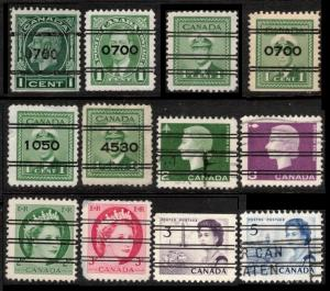 CANADA 1932 / 1967 SMALL LOT OF 12 DIFF PRECANCELLED STAMPS MIXED CONDITION