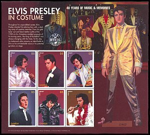 Gambia 1822, MNH, 40th Anniversary of Elvis Presley's First Hit miniature sheet