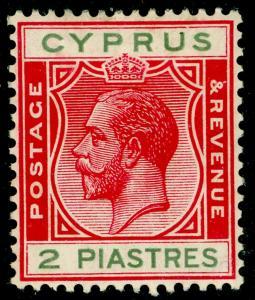 CYPRUS SG108, 2pi carmine & green, LH MINT.