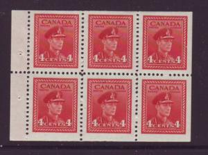 Canada Sc 254a 1943 4c G VI stamp booklet pane of 6 mint