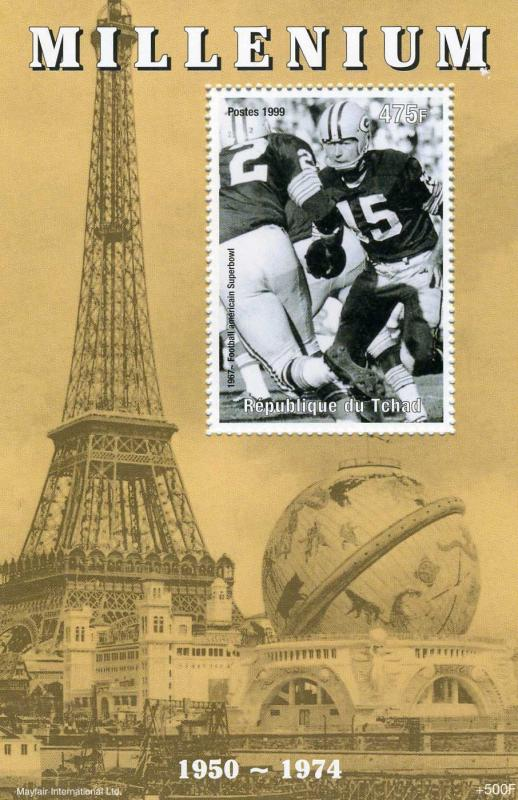 Chad 1999 Events 1950-1974 Football American Superbowl s/s Perforated mnh.vf