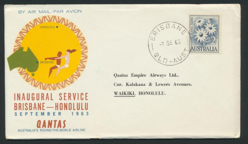 1963 Qantas First Flight Cover - Brisbane Honolulu AAMC 1492 SPECIAL - please...