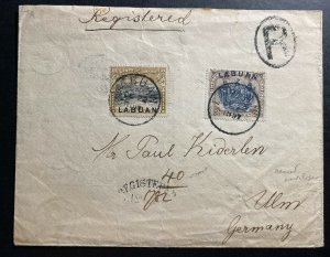 1897 Labuan North Borneo Registered Cover To Ulm Germany SG#97a