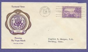 802  VIRGIN ISLANDS 3c 1937, F.R. RICE FIRST DAY COVER, A...