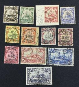MOMEN: GERMAN COLONIES SAMOA SC #57-68 1900 USED $470 LOT #60674