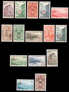 Monaco B36-50 YT200-14 Mi205-19 SG214-28 1940 Red Cross Buildings MNH €410