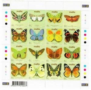 Malta 1081 MNH Sheet of 16 Butterflies and Moths (SCV $7.25)