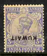 Kuwait 1923 KG5 3a ultramarine with overprint inverted li...