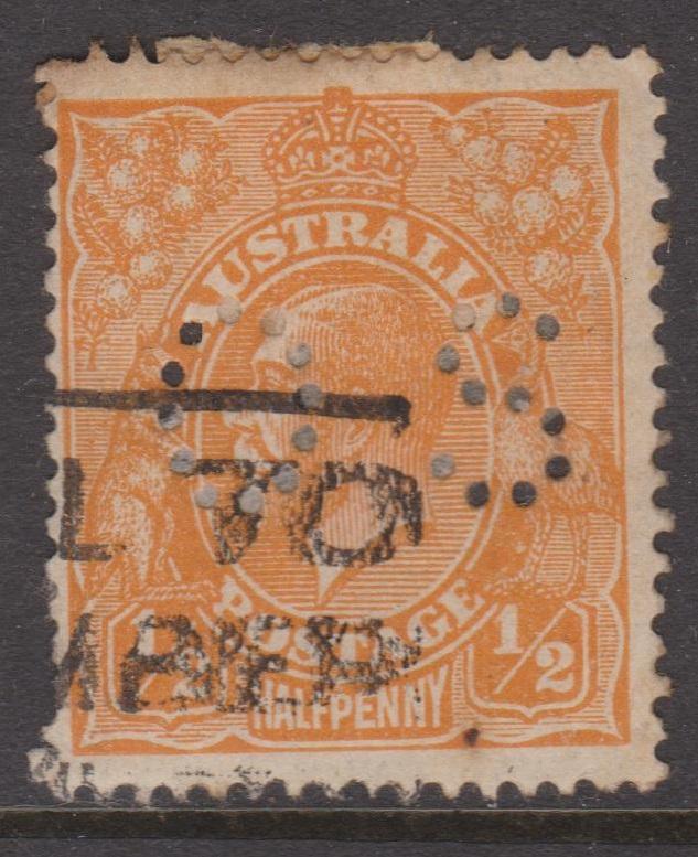 Australia KGV Sc#66a Used OS Perfin