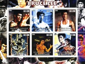 Mauritania 2002 BRUCE LEE Sheet (6) Perforated Mint (NH)