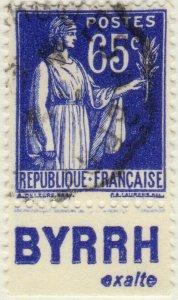FRANCE - 1937 Pub BYRRH (exalte) inférieure sur Yv.365b 65c Paix - obl. TB
