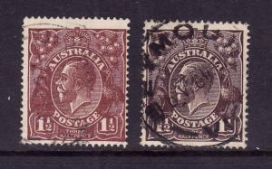 Australia-Sc#24a,b-used-1&1/2p red brn,blk brn KGV-1914-24-
