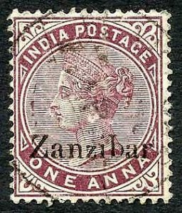 Zanzibar SG4 1d Plum Small second Z and inverted Q for B CDS