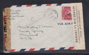 Haiti Dual Censored Air Mail Cover to USA 1943