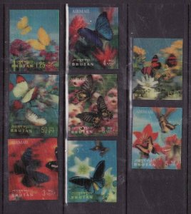 Bhutan-Sc#95-95G-unused NH set-3-D stamps-Insects-Butterflies-1968-