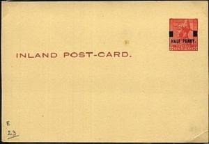 NEW ZEALAND GV 1d postcard optd HALF PENNY in black unused.................19460