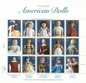 US: 1997 CLASSIC AMERICAN DOLLS;  Sheet of 20, Sc 3151; 32 Cents Values
