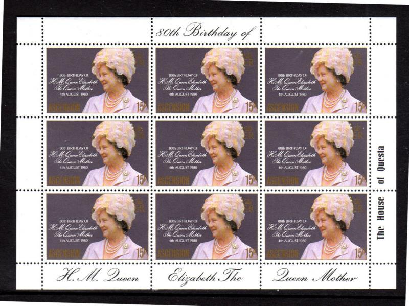 ASCENSION ISLAND #261  1980  QUEEN MOTHER  MINT VF NH  O.G  M/S OF 9