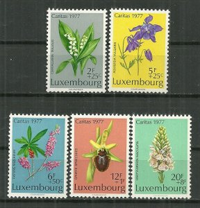 1977 Luxembourg cpl. Caritas Flowers Set MNH