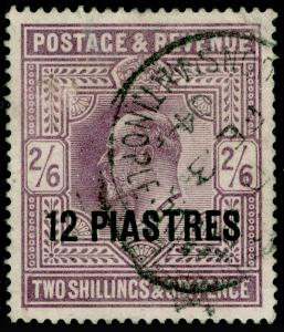 BRITISH LEVANT SG11, 12pi on 2s 6g lilac, USED. Cat £38.