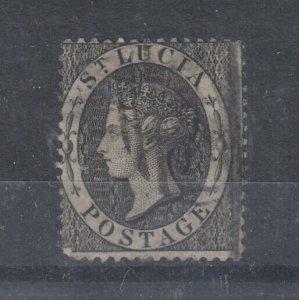 St Lucia QV 1864 1d Black SG11 Fine Used J9567