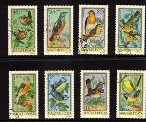 Hungary #337-344  Birds CTO  Free Shipping