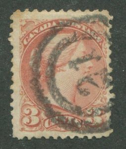 CANADA #37a USED SMALL QUEEN 2-RING NUMERAL CANCEL 21