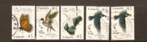 CANADIAN SET ON MIGRATORY WILDLIFE #1563-1567(5) USED STAMPS  LOT#233