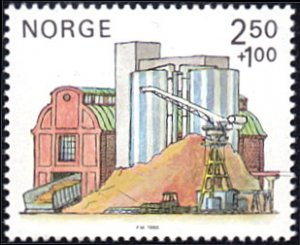 Norway # B69a mnh ~ 2.50k + 1k Paper Mill - Wood Aging Containers