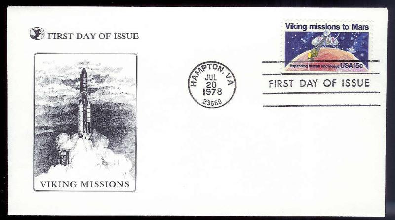 UNITED STATES FDC 15¢ Viking Mission 1978 Readers Digest