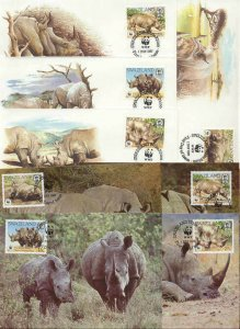 Swaziland 8 FDC/cards WWF 1987