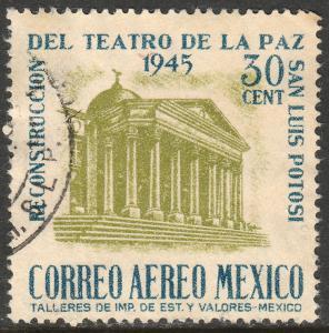 MEXICO C148, 30c Reconstruction of La Paz Theater Used. F-VF.  (825)