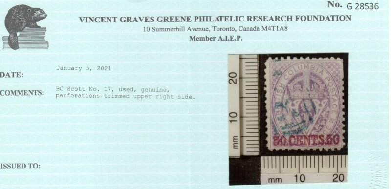 British Columbia #17 Used Fine+ Trimmed Perfs At Upper Right *With Certificate*