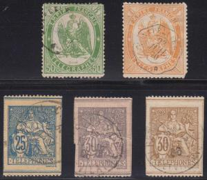 FRANCE 1868-97 TELEGRAPH & TELEPHONE Yvert TT6-7 & TT3, 8 & 17 CUT-OUTS USED