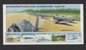 BC205) Solomon Islands 1992 50th Anniv. Guadalcanal Minisheet MUH