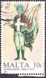 MALTA 1987 10c Maltese Uniforms Multicoloured SG804 FU