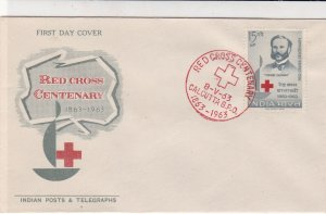 India 1963 Red Cross Centenary Illustration Cancel & Stamp FDC Cover Ref 34731