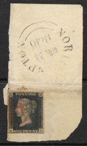 1d Penny Black 4 margin used with Red Maltese Cross on small piece