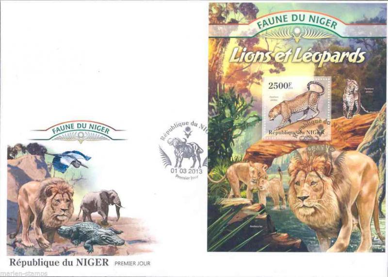 FAUNE OF NIGER 2013 LIONS AND LEOPARDS SOUVENIR SHEET  FIRST DAY COVER