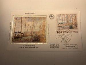 France Colorano silk FDC, 9 novembre 1974, Alfred Sisley, Canal du Loing