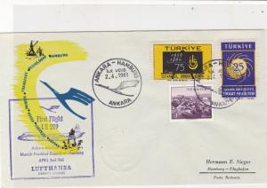 Turkey 1961 1st Flight Ankara-Hamburg Lufthansa Slogan Stamps Cover Ref 25908