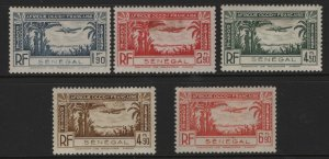 SENEGAL, C12-C16, (5)SET, HINGED, 1940, AIR POST STAMPS, STAIN