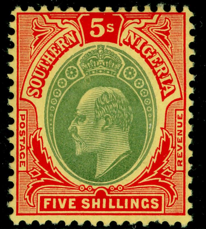 SOUTHERN NIGERIA SG42, 5s green & red/yellow, LH MINT. Cat £40.