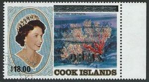 COOK IS QE OHMS overprint $18 fine used....................................45288