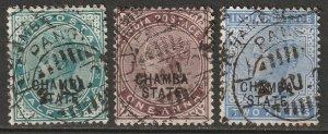 India Chamba 1887 Sc 1,2,4 used (4 thin/tear at top)
