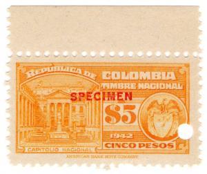 (I.B) Colombia Revenue : State Duty $5 (ABN specimen)