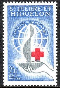 St Pierre & Miquelon 367, MNH. Intl. Red Cross Centenary. Emblem, 1963