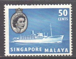 Malaya Singapore Scott 39 - SG49, 1955 Elizabeth II 50c MH*